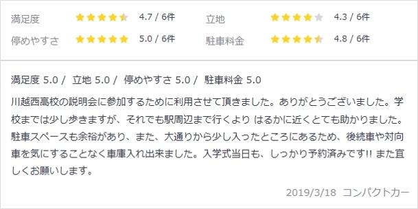 akippa・埼玉県川越市・笠幡・口コミ